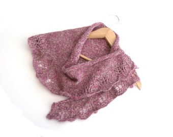 Pink / Grey Wool shawlette / cowl hand knitted in 100% wool in twisted pink, grey and white , feminine gift for Christmas , ready to ship