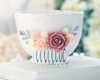 Dusty Pink Bridal Hair Comb, Dark Pink Ivory Blush Pink Wedding Hair Comb, Silver Bridal Comb, Silver Leaf Hairpiece,  Bridesmaid Gift Idea