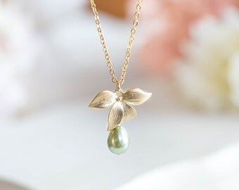 Bridesmaid Necklace Sage Green Wedding Jewelry Bridal Necklace Gold Orchid Flower Sage Green Pearl  Necklace Birthday Gift for Mom for Her