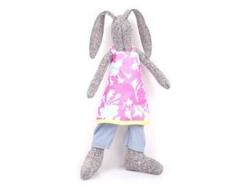Cuddling doll modern gray woven silk rabbit doll in blue pink floral dress & pants under- Stuffed bunny doll -newborn handmade eco rag doll