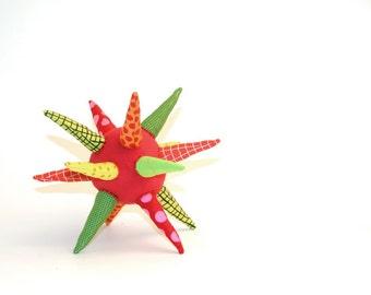 Modern baby Teething toy -Sensory strar ball - geometric modern toy - eco ball in red yellow green -handmade unique toys,Handmade eco gift