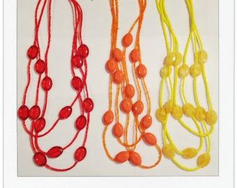 The Kinsey Necklace in ORANGE | Triple Strand Necklace | Seed Bead Necklace | Three Layer Necklace | Faceted Bead Necklace | Orange Necklace