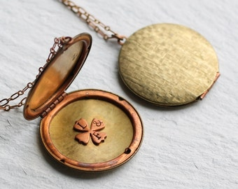 Personalized Locket Necklace ... Shamrock Good Luck Four Leaved Clover Initial Hand Stamped