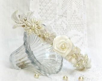 Ivory lace bridal headband wedding lace flower crown bridal hair flower crown lace bridal crown white flower bridal headband lace head piece