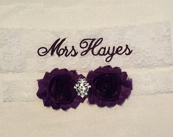 Bridal Wedding Garter Set Embroidery New Last Name New Monogram