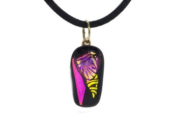 Pink, gold dichroic pendant, fused glass necklace, dichroic glass jewelry, dichroic necklace, dichroic pendant, fused glass pendant