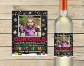 Christmas Teacher Wine Labels Printable - Christmas Teacher Gifts - Personalized Teacher Gift - Holiday Bottle Label - Custom Wine Label