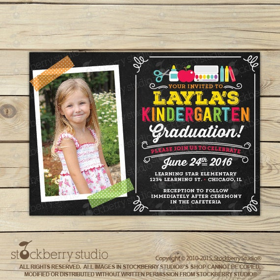 Kindergarten Graduation Invitation Preschool Graduation Invitation