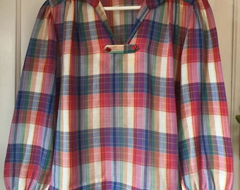 Vintage 1970s Plaid Pullover Blouse Tunic