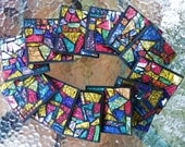 """CUSTOM COASTERS - Square Shaped 4""""x4"""" Mosaic Drink Coasters in Gorgeous Multicolored Van Gogh Stained Glass  - Set of 4 - Unique - OOAK"""