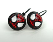 Spiderman inspired Glass Cabochon Earrings