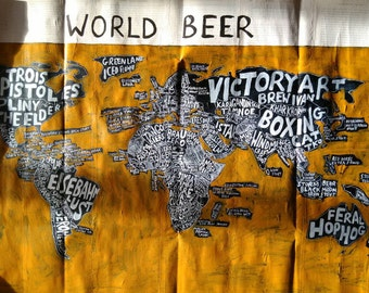 World Beer Map No.2,acrylic paint and ink, ~90cm x 60cm, free postage