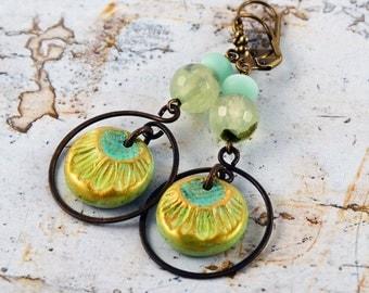 Bohemian Rustic Yellow Aqua Blue Green Ceramic Beads Czech Glass Prehnite Beads Antique Brass Earrings Dangle Earrings Boho Chic