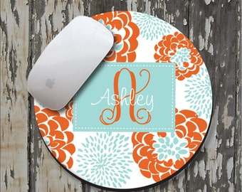 CARROT PEONY Personalized Mouse Pad, Personalize Mousepad, Monogrammed Mouse Pad, Monogrammed Mousepad, Custom Mouse Pad, Custom Mousepad