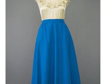 SALE - Blue Wool Skirt 70s Skirt High Waist Skirt Fit & Flare Skirt Blue Skirt w/ Pockets 1970s Skirt Wool Midi Skirt Full Skirt
