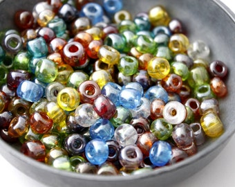 Rainbow Glass Seed Beads, Assorted Luster Mix, Size 32/0 - Large
