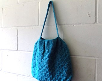 Hand Knitted Bag, Turquoise Handbag