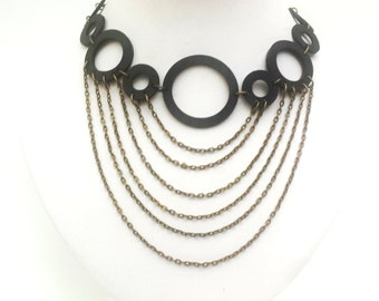 Upcycled Rubber Circle  Necklace With Chain