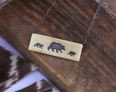 Brass and Sterling Silver Bear Necklace. Spirit Animal Necklace. Bear Jewelry.