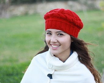 Women red knit hat, Red winter beret, Red womens hat, Red winter hat, Red wool hat, Red knit beanie, Red hat for women,