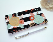 Checkbook Cover. Wallet. Receipt Holder. Black & White Stripes Floral Mint, Gold, Coral