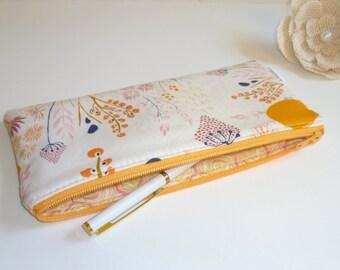 Zip Pouch in Wispy Daybreak, Cosmetic / Make-up Bag. Gadget / Pencil/ Phone Case. Mint, Pink, Orange, Navy, Mustard Yellow
