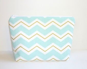 Mint Blue Chevron Cosmetic / Make-Up Bag. Zip Pouch, Gadget / Pencil / Phone Case - Metallic Gold