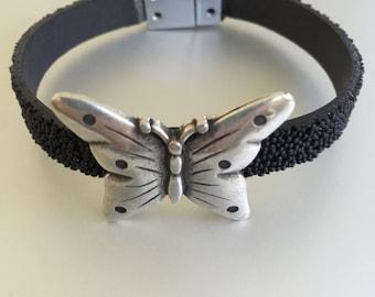 Silver Butterfly on Black Leather Bracelet