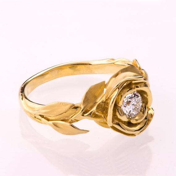 rose engagement ring 14k gold and diamond ring engagement ring leaf ring - Rose Wedding Ring