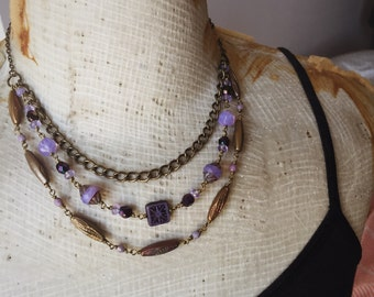 Purple Beaded Chain Multistrand Necklace - Amethyst - Violet - Layered