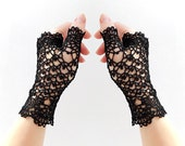 Gothiс Lace Evening fingerless gloves. Hand Jewelry Steampunk Black Retro Crochet mittens, Victorian fingerless gloves, Arm wrist warmers