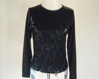 1990s Black Sequin Club Kid Shirt Top