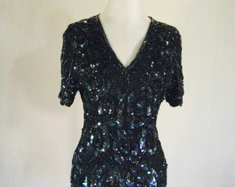 Papell Boutique Sequin Shirt Top Glam