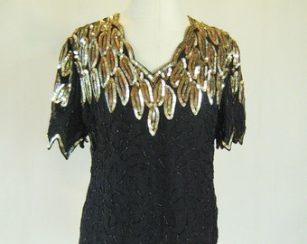 Golden Leaves Sequin Shirt Top Glam