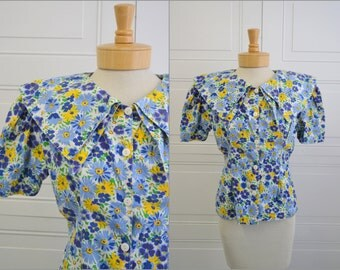 1980s Bonjour Floral Cotton Blouse with Large Collar