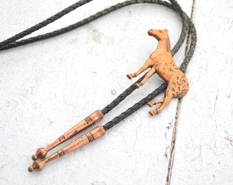1960s Copper Horse Bolo Tie