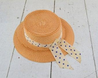 1950s Italian Straw Hat with Polka Dot Ribbon Band