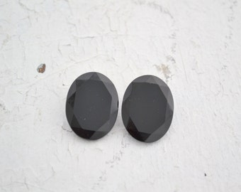 1950s Western German Black Faceted Glass Oval Clip Earrings