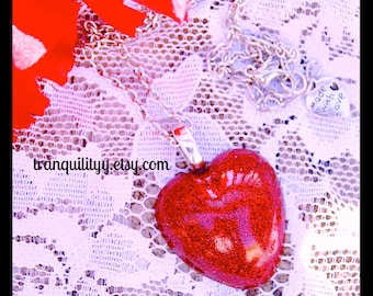 Red Glitter Heart Necklace ,Glitter Resin Charm Necklace, By: Tranquilityy