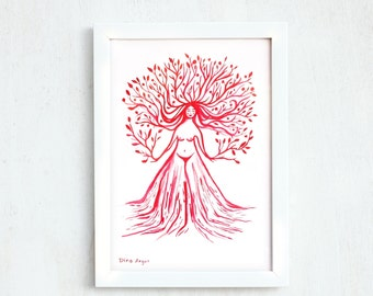 Gift for doula, modern painting, red print, woman print, 8 11 inch, folk art tree, gift under 20, wall decor, primitive art, goddess art