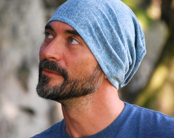 Slouchy Hat for Men - Beanie - Unisex - Stone Blue - Organic Cotton Hemp - Eco Friendly - Organic Clothing