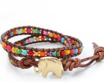 Gold Lucky Elephant Button Leather Wrap Bracelet- Mixed Rainbow Beads - the Lucky Elephant Exclusive