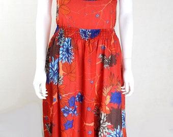 Original Vintage Tomato Red Floral Maxi Dress UK Size 12/14