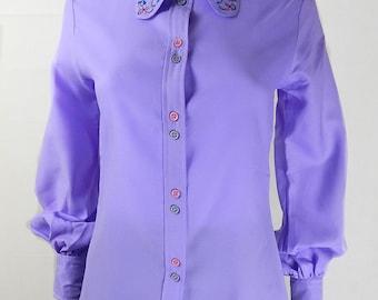 Original Vintage 1970s Lilac Folk Blouse UK Size 8/10
