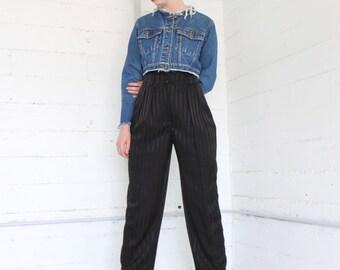"80s black striped satin high waisted draped tapered trouser pants, minimalist, tuxedo, size 4 26"""