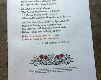 Letterpress Broadside - Shakespeare's Sonnet 116