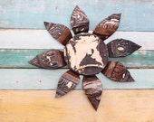 Vintage Chippy Repurposed Tin Ceiling Flower