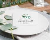 Printable Place Card Template - Eucalyptus Wedding, Party Green, Garden, Instant Download, escort Spring Modern DIY Placecard (6004)