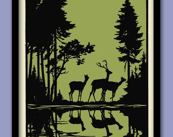 Woodland Deer Poster. Black and Green . Deer wall art . Silhouettes print.  Paper cutA2 size . Woodland trees. Forest print. Vintage deer A2