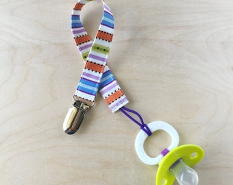 Pacifier Clip - Cheerful Stripe